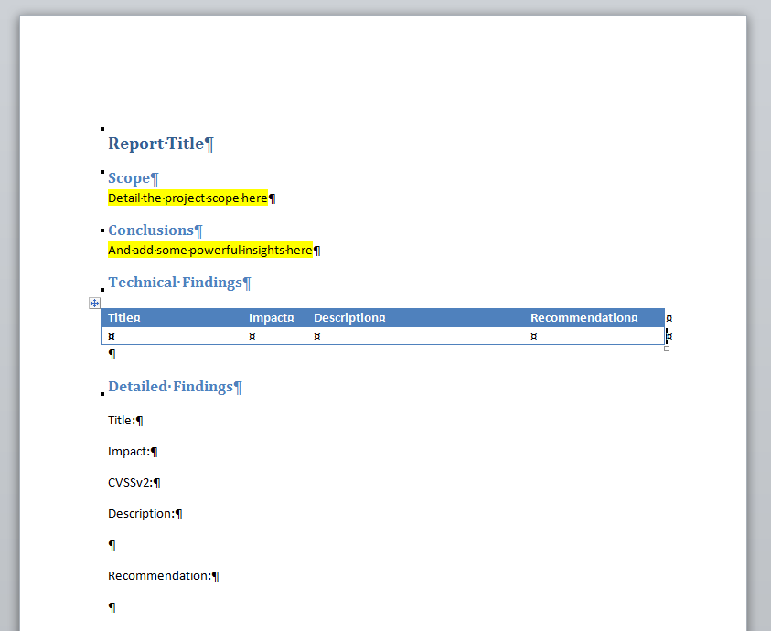 Creating Word reports with XSL transformations Support Dradis – Template for Reports